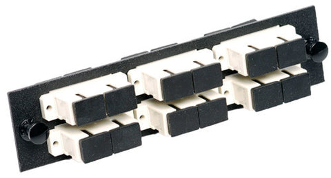6 Pack Duplex SC (12 port) Adapter Panel (Multimode - Loaded - Beige Adapters)