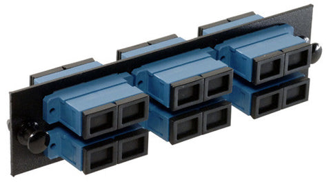 6 Pack Duplex SC (12 port) Adapter Panel (Single Mode - Loaded - Blue Adapters)