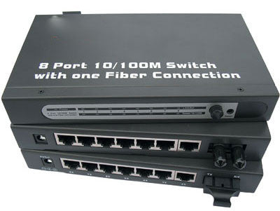 8-Port Switch with 1 MM/ST Fiber Port and (7) 10/100 Twisted Pair Ports