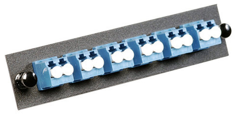 6 Pack Duplex LC (12 port) Adapter Panel (Single Mode - Loaded - Blue Adapters)