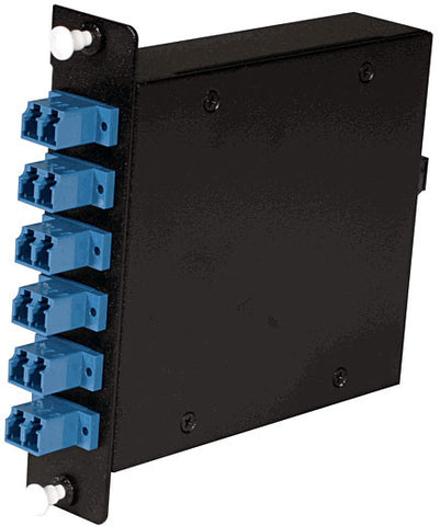 12-fber MTP Cassette, 9/125µm Single Mode Fiber, 1 rear MTP/female Port, 6 LC Duplex Ports Front