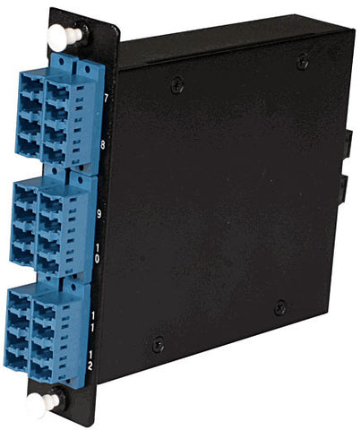 24-fiber MTP Cassette, 9/125µm Single Mode Fiber, 2 rear MTP/female Port, 6 LC Quad Ports Front