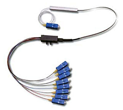 1x8 Single Mode PLC Splitter (Planar Lightwave Circuit Splitter) with Fan Out & SC/UPC Connectors