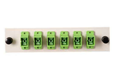SC 6 Pack (APC Singlemode - Loaded) Green Adapters, Beige Color