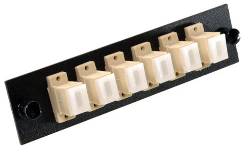 6 Pack SC Adapter Panel (Multimode - Loaded - Beige Adapters)