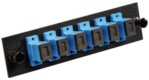 6 Pack SC Adapter Panel (Single Mode Loaded Blue Adapters)