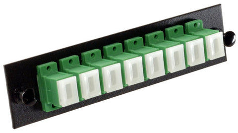 8 Pack SC/APC Adapter Panel (Single Mode - Loaded - Green Adapters)