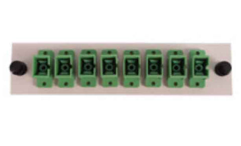 SC 8 Pack (APC Singlemode - Loaded) Green Adapters, Beige Color