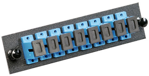 8 Pack SC Adapter Panel (Single Mode - Loaded - Blue Adapters)