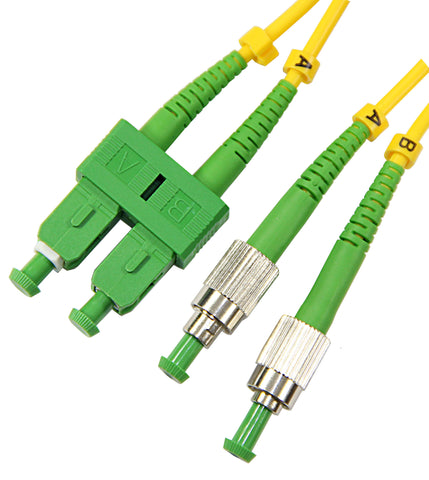 1m FC-SC Duplex 8.3/125µm single mode patch cord, APC polish