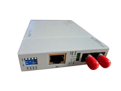T1 RJ45 100ohm to multi-mode 1310nm fiber optic media converter (T1 modem), 2Km, ST connector