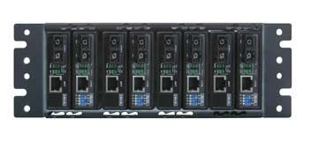8 slot fiber chassis with single DC power and fan
