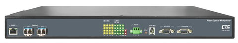 FMUX800-AD 8E1/ T1 with full Gigabit Ethernet and redundant SFP optic link Fiber Optic Multiplexer - AC and DC powered