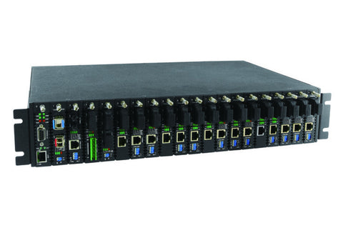 20 slot fiber chassis with dual power and network management options, rack 19""