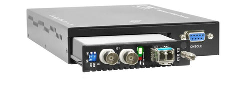 Coax E3 / DS3 over fiber (SFP slot)media converter w/ console mgmt and embedded AC PS