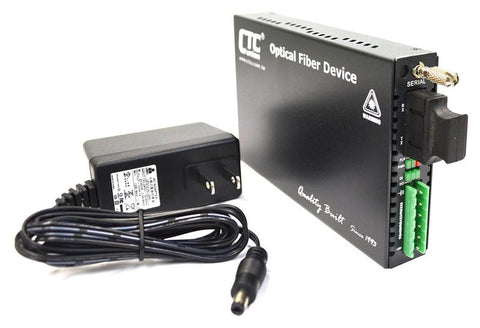 RS-232, RS-485, RS-422 over single-mode fiber media converter, 15Km, ST connectors