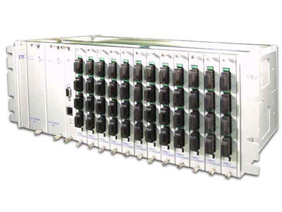 48 port fiber chassis with dual power and SNMP options, rack 19""