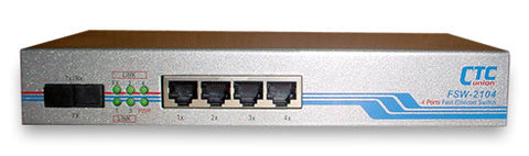 Fast Ethernet 4 10/100Base-TX copper + one 100Base-FX fiber port, multi-mode, SC 2Km