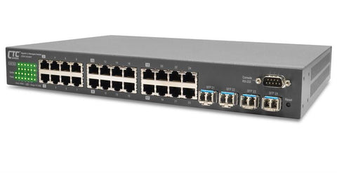 "GSW-3424M1 - Gigabit Enterprise Ethernet 24+4 SFP ports, L2 web/SNMP managed switch, rack 19"" mountable"
