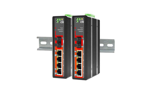 IFS-401F-E-SC030 - 4+1 port Fast Ethernet Industrial singlemode fiber switch, DIN rail mount, -40 to +75 Celsius