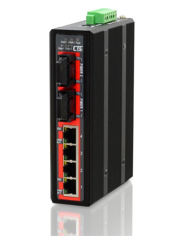 IFS-402F-SC030 - 4+2 port Fast Ethernet Industrial singlemode 30Km fiber switch, DIN rail mount