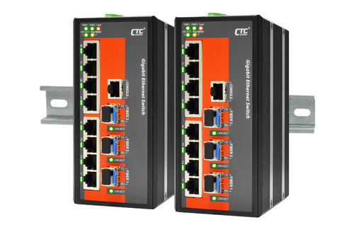 IGS-803SM - 8 copper + 3 SFP port SNMP/web-managed Gigabit Ethernet Industrial switch, DIN rail mount