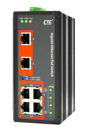 IGS-600-4PHE24 - 6 ports Gigabit Ethernet Industrial switch with 4 PoE 30W ports, DIN, extended temp range