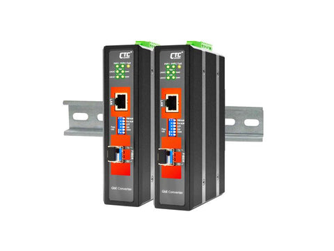 IMC-1000S-E - Gigabit Ethernet to SFP slot industrial fiber media converter DIN rail, 2.5kV isolation, -20-75 Celsius