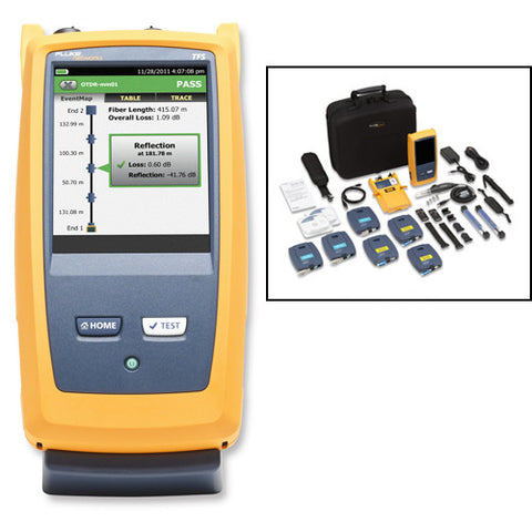 Quad OTDR for troubleshooting and extended certification, includes fiber inspection kit