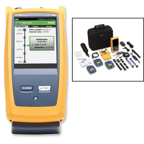 Singlemode OTDR for troubleshooting and extended certification, includes fiber inspection kit