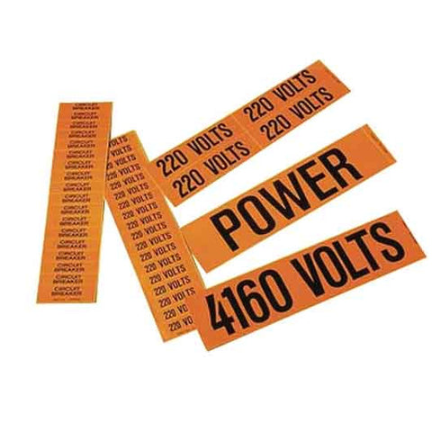 "Black/orange, vinyl adhesive Fiber Optic voltage marker, 4.50"" X 1.25"""