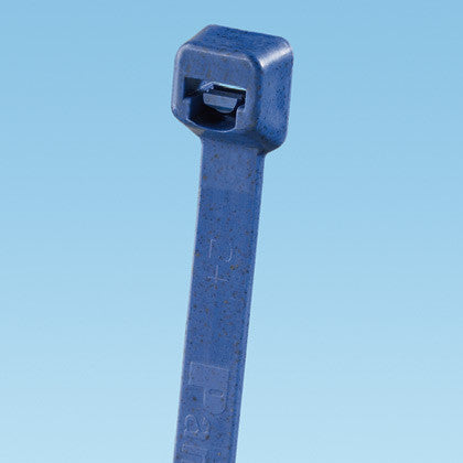 "Cable Tie, 14.4""L (100mm), Miniature, Metal Detectable Nylon Polypropylene, Light Blue, 50/pk"
