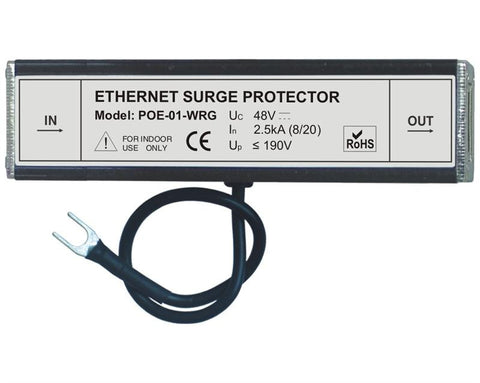 POE-01-WRG - Full 8 pin Cat6 RJ45 Ethernet surge protector with PoE IEEE 802.3af support
