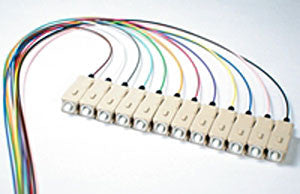 50/125/900µm OM3 Laser Optimized 10G multimode SC/PC Color Coded Pigtail, 3 Meters (12 pcs/pack)