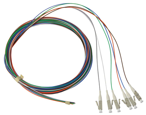 50/125/900µm multimode LC/PC Color Coded Pigtails, 3 Meters (6 pcs/pack)