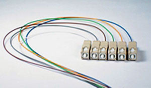 50/125/900µm OM3 Laser Optimized 10G multimode SC/PC Color Coded Pigtail, 3 Meters (6 pcs/pack)