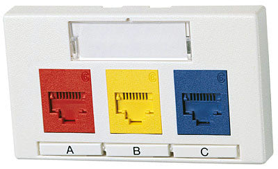 Synergy Series 3 Port Modular Furniture Outlet, TIA 569A, Mfr Molex