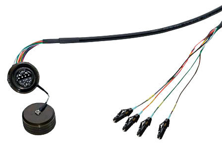 TFOCA II (Jam Nut Receptacle) to LC/UPC Single Mode Fiber Cable Assembly, 4 Channels, 10 Feet