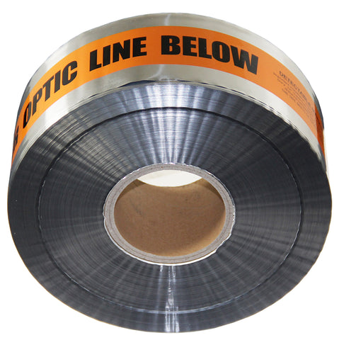 "Metallic Detectable Buried Fiber Optic Cable Marker Metallic Tape - 3"" x 1000'"