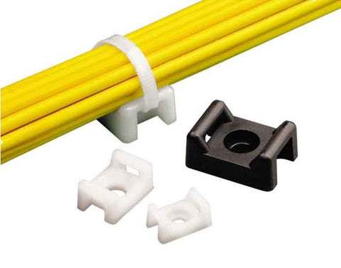 "Cable Tie Mount, .43"" (10.9mm)W, #8 Screw (M4), Weather Resistant Nylon, 100/pk"