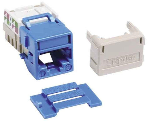 1-Port Mod Jack 8W8P 110 T568A/B CAT6A IP10, Blue