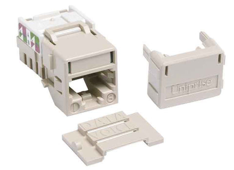 1-Port Mod Jack 8W8P 110 T568A/B CAT6A IP10, Ivory