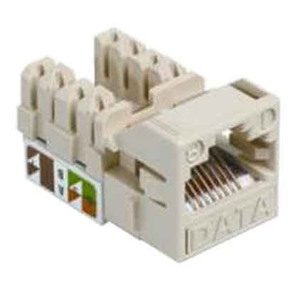 1-Port Mod Jack 8W8P 110 T568A/B CAT5e IP1, Ivory