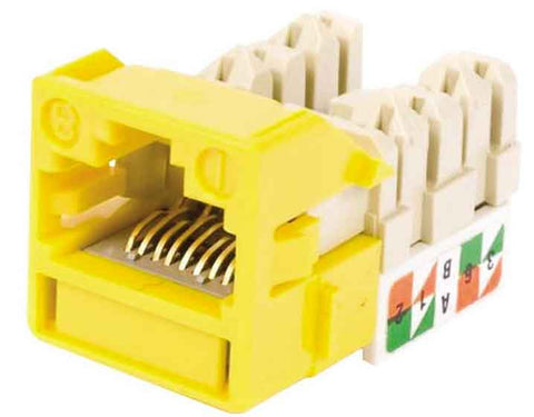 1-Port Mod Jack 8W8P 110 T568A/B CAT5e IP1, Yellow
