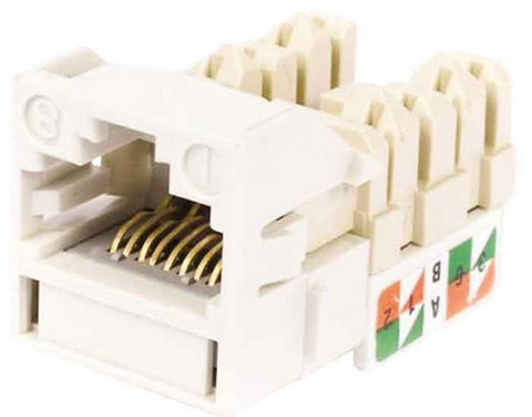 1-Port Mod Jack 8W8P 110 T568A/B CAT6 IP5, Ivory