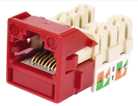 1-Port Mod Jack 8W8P 110 T568A/B CAT6 IP5, Red