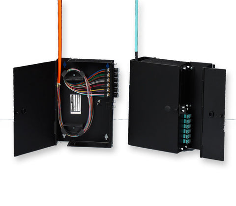 Wall-Mountable Interconnect Center (WIC), holds 4 CCH connector panels