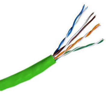 Hitachi CAT5e UTP Plenum Rated Bulk Cable (CMP) 100MHz - 4 Pair, 1000 Feet, Green Color