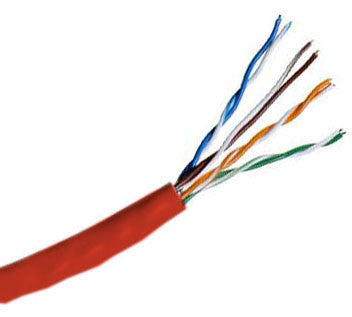 Hitachi CAT5e UTP Plenum Rated Bulk Cable (CMP) 100MHz - 4 Pair, 1000 Feet, Red Color