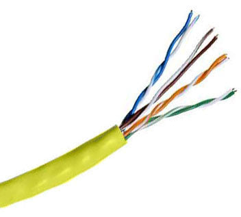 Hitachi CAT5e UTP Plenum Rated Bulk Cable (CMP) 100MHz - 4 Pair, 1000 Feet, Yellow Color
